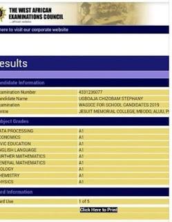 Chizobam Waec Results