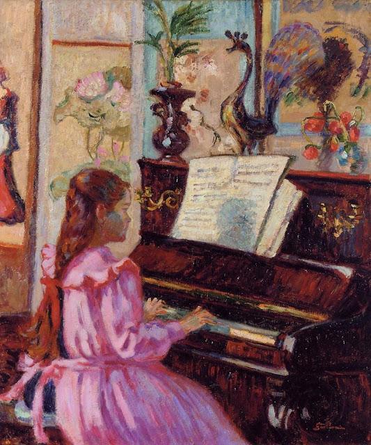 Armand Guillaumin - Joven al piano - c. 1910