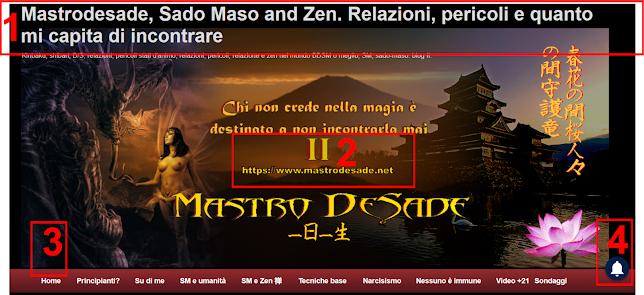 header di https://www.mastrodesade.net, Sado Maso e zen