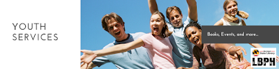 Teens jumping; youth services; book, events, and more...