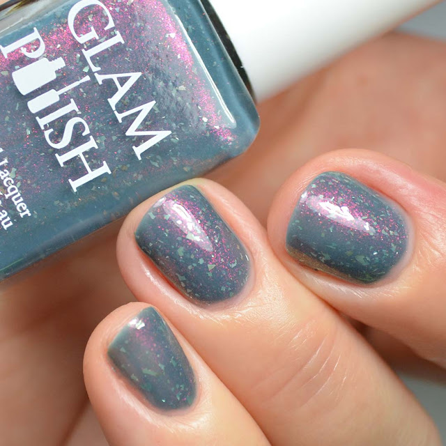 grey nail polish with shimmer swatch
