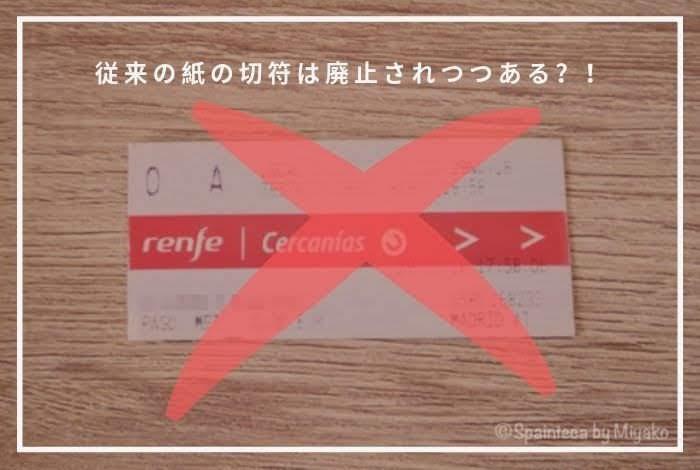 廃止されつつあるマドリードのセルカニアス線の従来の紙の切符