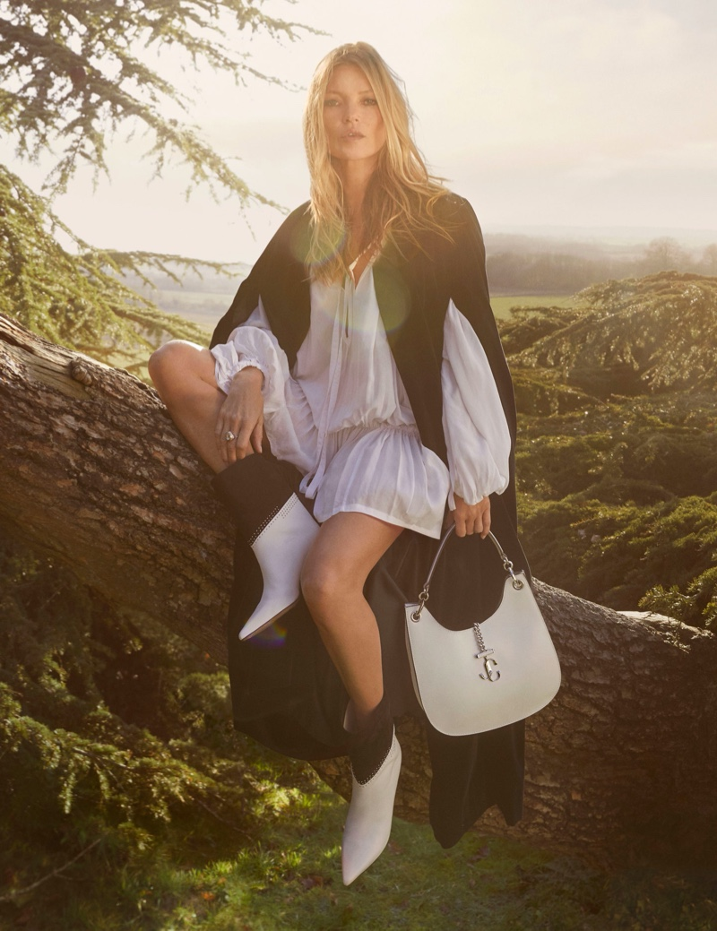 Jimmy Choo highlights Bear bootie and Varenne Hobo bag in pre-fall 2020 campaign.