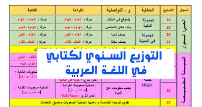 التوزيع السنوي لكتابي في اللغة العربية  للمستوى الأول من التعليم الابتدائي