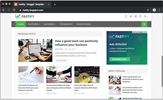 Fastify - Responsive Blogger Template & Fast Loading