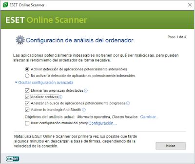Configuración Eset Online Scanner
