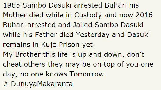 Buhari vs Dasuki; Check out what a social media user wrote