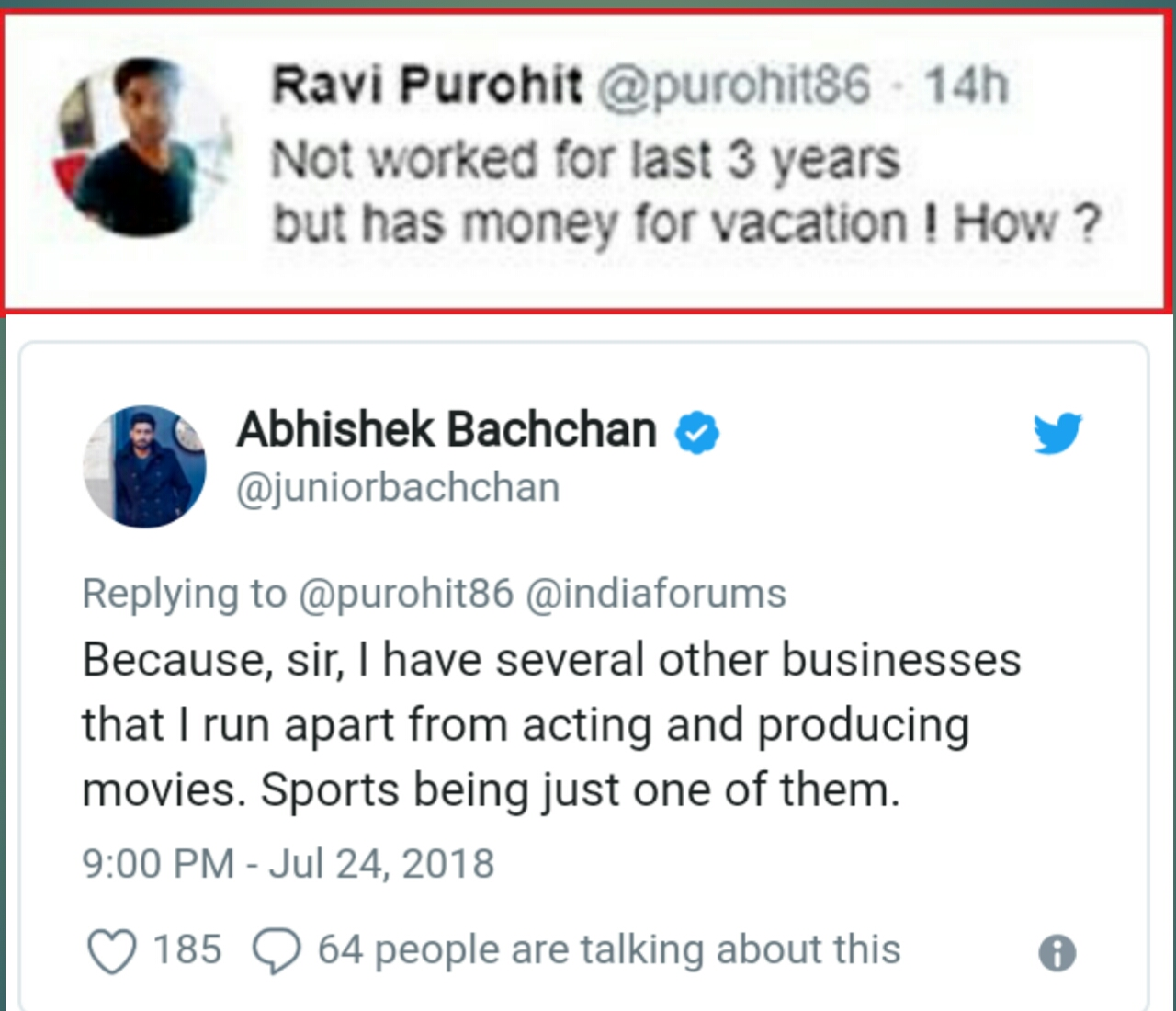 What does Abhishek Bachchan do for a living
