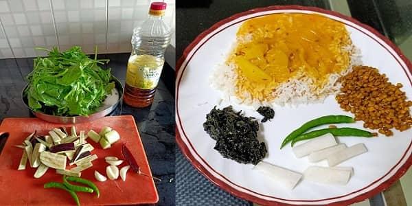 पालंग, बैगण, लौकी दगड़ - कुमाऊँनी रैसिपी,kumaoni recipe of mix vegetables,kumaoni recipe