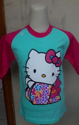 Kaos Raglan Anak Karakter Hello Kitty Biru