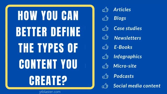 Define different types of content