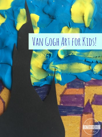 Van Gough Starry Night Art Project for Kids is a fun way for kids to learn about famous artists - very unique, great project using a variety of methods (preschool, kindergarten, 1st grade, 2nd grade, homeschool, 3rd grade) #vangogh #famousartists #artprojects