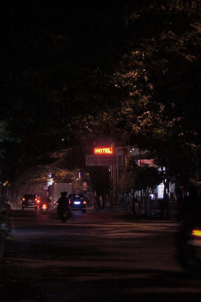 The Hotel light box at night.