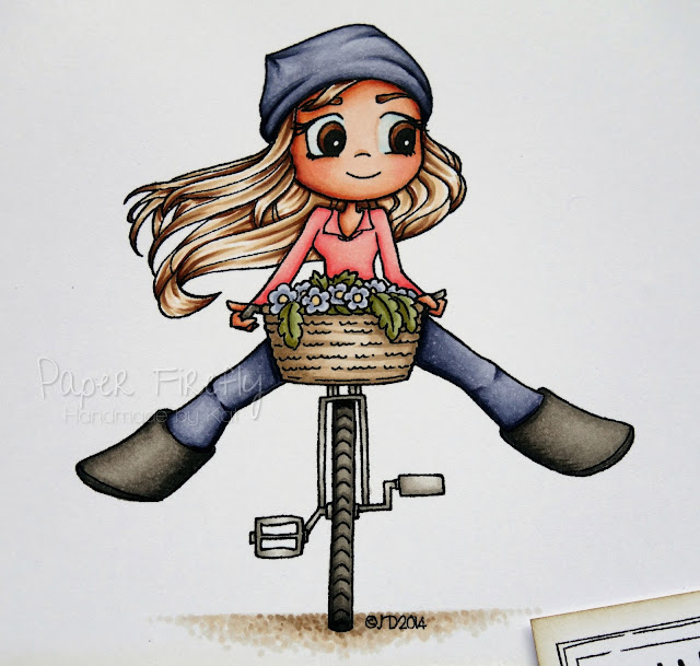 Girly CAS card with girl on bike (image from Time for Tea)