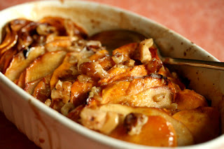 Sweet potato and apple in a casserole dish