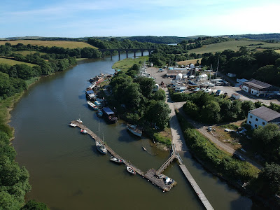 aerial photo of Treluggn boat yard on river lynher