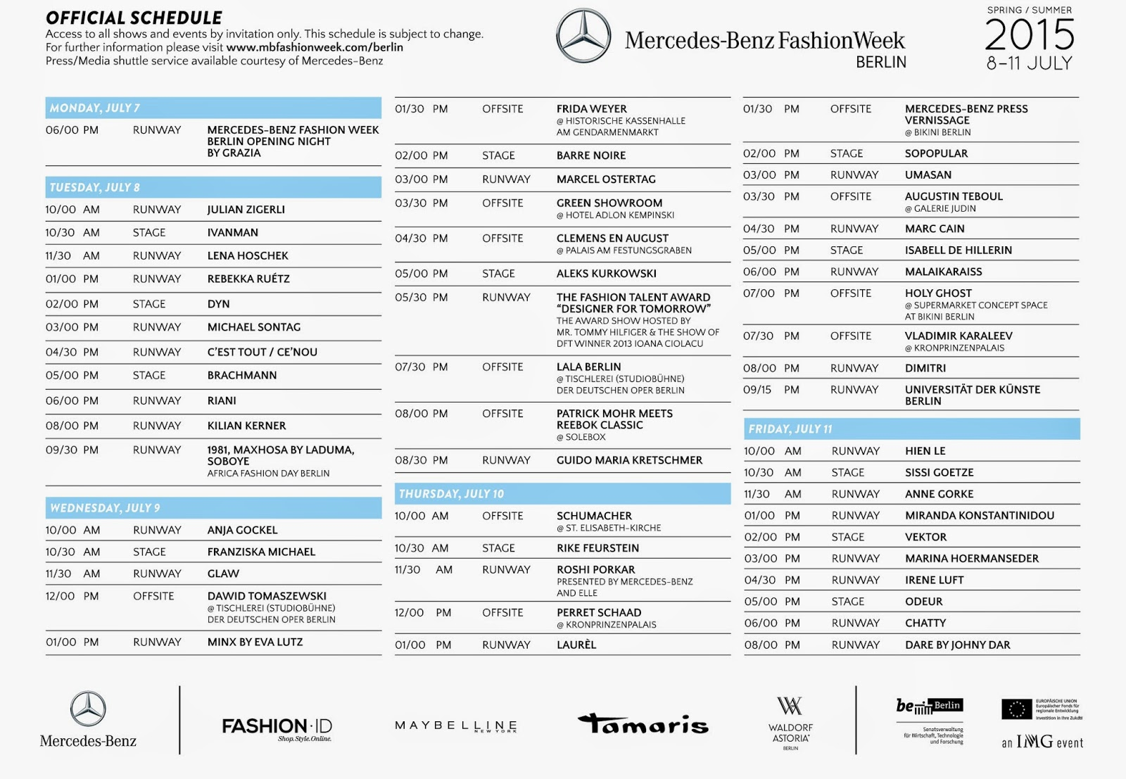 MERCEDES BENZ BERLIN FASHION WEEK DESIGNER SCHEDULE