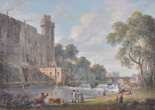 Photograph of picture: Title: Caesar's Tower and part of Warwick Tower from the island. Artist: Paul Sandby (1731-1809) Image copyright of the Hamilton Gallery reproduced here with permission