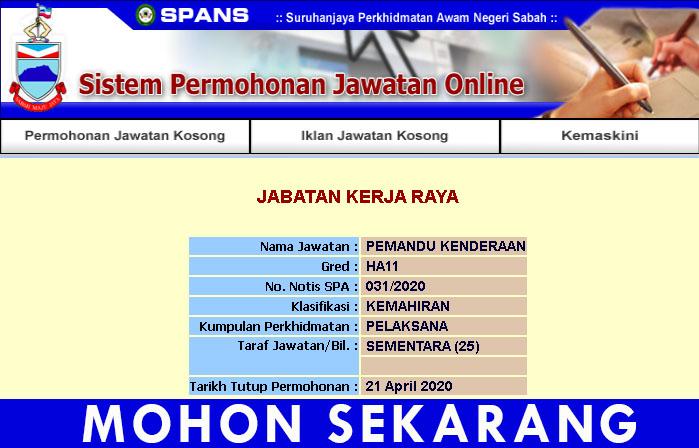 Pemandu Kenderaan Gred H11 Sabah