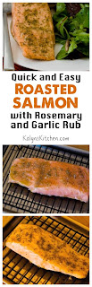 Quick and Easy Roasted Salmon with Rosemary-Garlic Rub found on KalynsKitchen.com