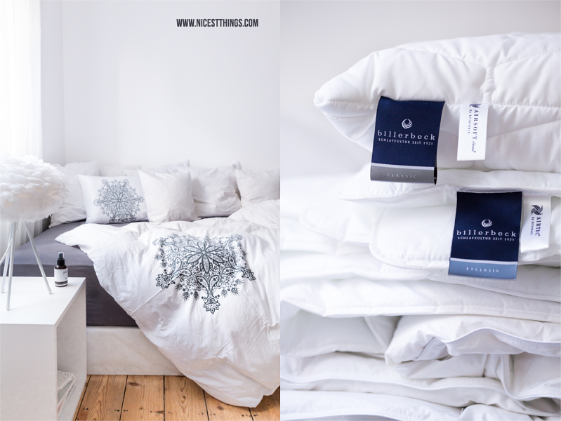 Schlafzimmer mit DIY Kissen Spray, Erfahrungen mit Billerbeck Daunendecke, Matratze, Kissen