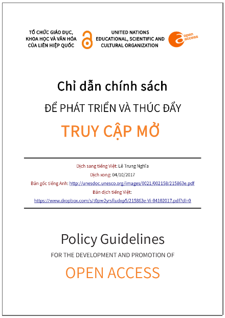 'Chỉ dẫn chính sách để phát triển và thúc đẩy truy cập mở' - bản dịch sang tiếng Việt