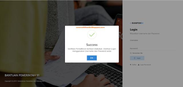 verifikasi pendaftaran berhasil dilakukan pada BANPEM untuk guru yang tidak memiliki NUPTK