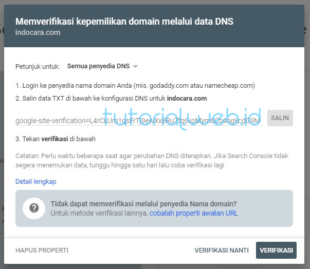 Cara Mendaftarkan Wordpress ke Google 2 Verifikasi DNS