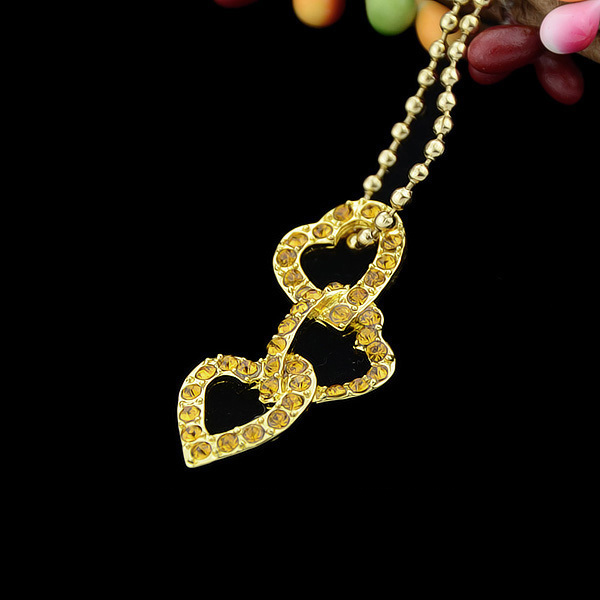 71a7dccd3 Kolye Elegant Long Gold Color Chain Necklace 3 Connected Heart Pendant  Necklace