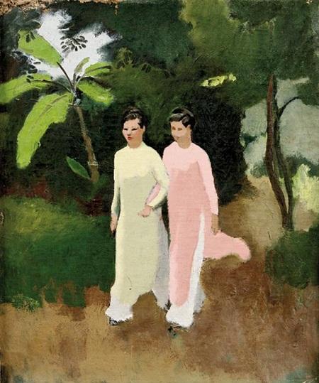Hai cô gái trong trang phụ áo dài do các họa sĩ Pháp vẽ