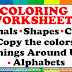 Coloring Worksheets:  Shapes, Colors, Animals, Things, Alphabets
