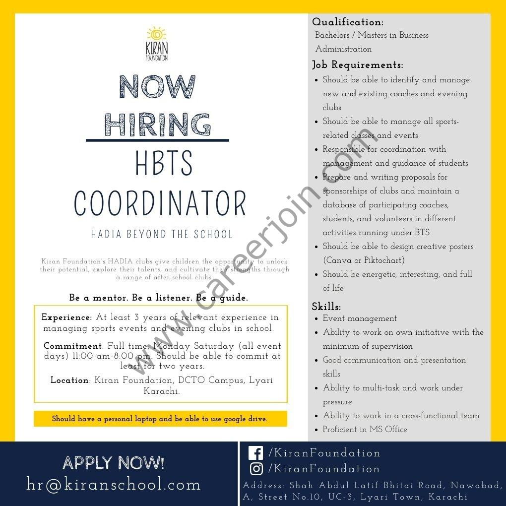 Kiran Foundation Jobs 2021 in Pakistan