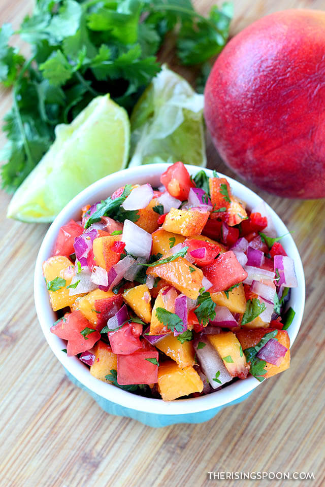 Easy Fresh Peach Salsa (For Topping Fish, Pork, Chicken, Tacos or as a Dip)