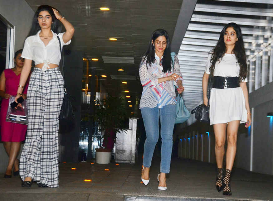 Sridevi with daughters Khushi and Janhvi Kapoor at Hakkasan In Bandra West