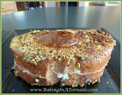 Pistachio Cream Cheese French Toast | recipe developed by www.BakingInATornado.com | #recipe #breakfast
