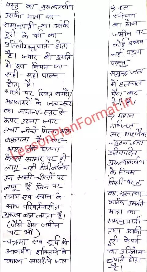 Lesson Plan of Geography in Hindi