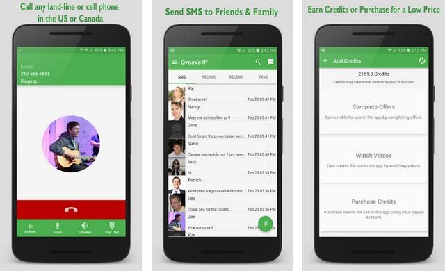 GrooVeIP - أفضل تطبيقات لإجراء مكالمات مجانية للاندرويد