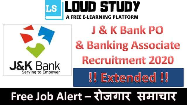 JK Bank PO and Banking Associate Recruitment 2020 - 1800 Posts
