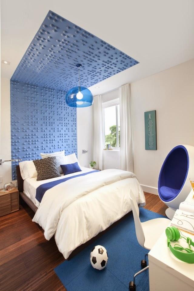 cuarto de adolescente azul gris