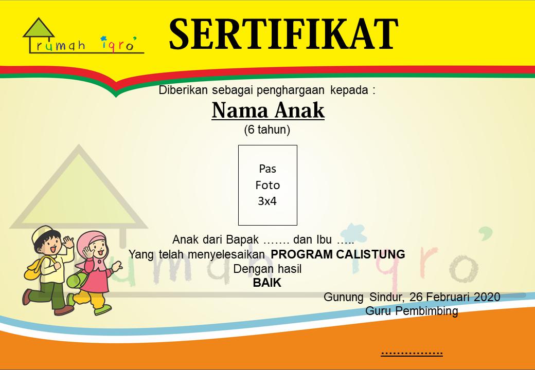 contoh ijazah sertifikat piagam tk