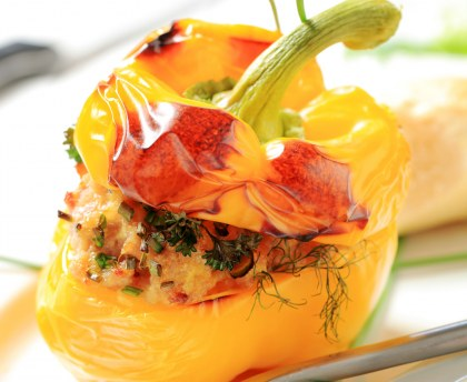 Yellow pepper stuffed with fresh goat cheese