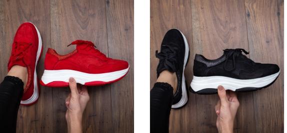 Adidasi moderni din piele eco intoarsa cu talpa groasa negri, albi, rosii
