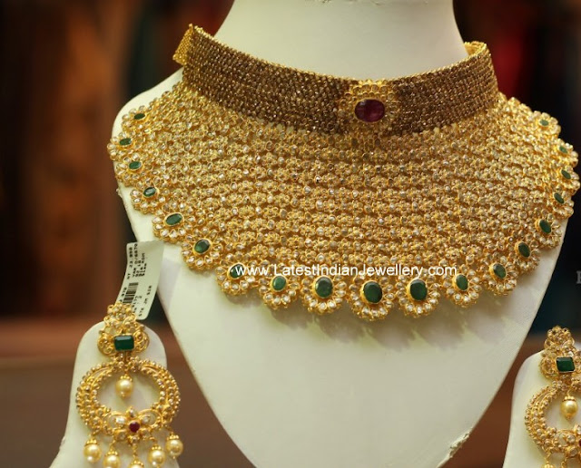 Huge Uncut Diamond Collar Necklace