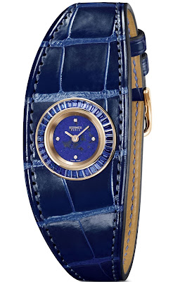 Hermès Faubourg Manchette Joaillerie watch blue leather strap