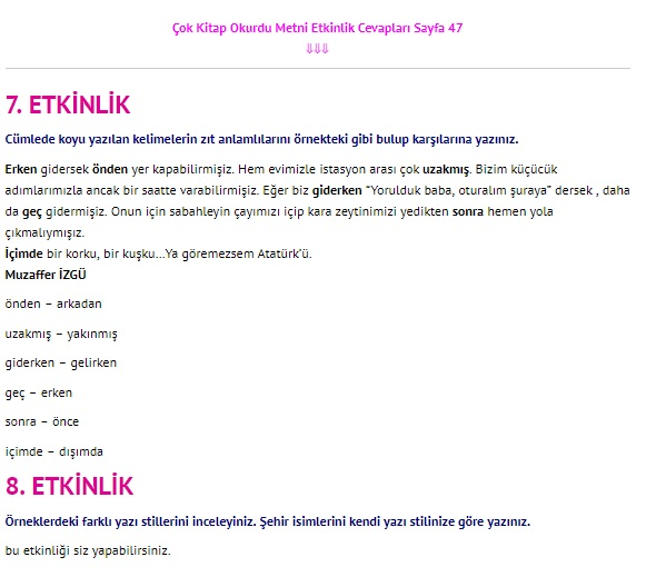 Çok Kitap Okurdu Metni Cevapları 4. Sınıf Türkçe Sayfa 47