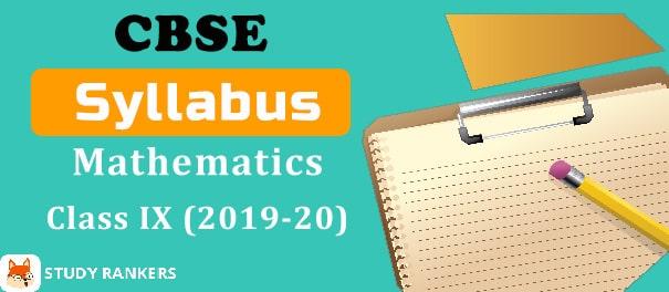 CBSE Class 9 Math Syllabus 2019-20