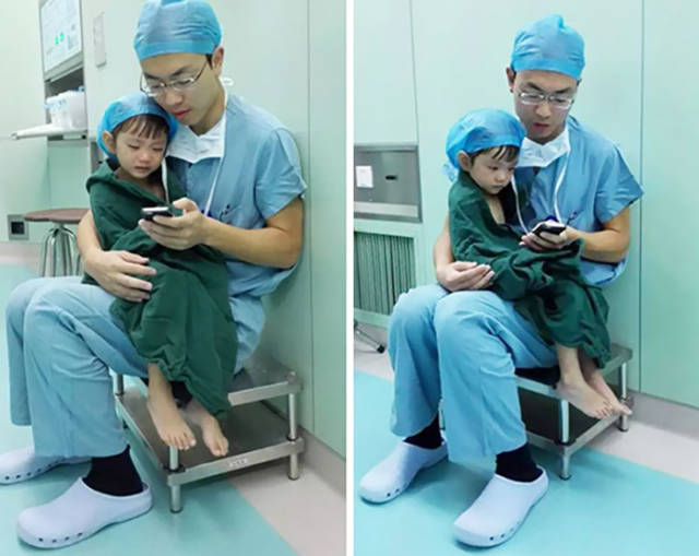 Heart Surgeon Calms Weeping 2-year-old Girl Before Heart Operation.