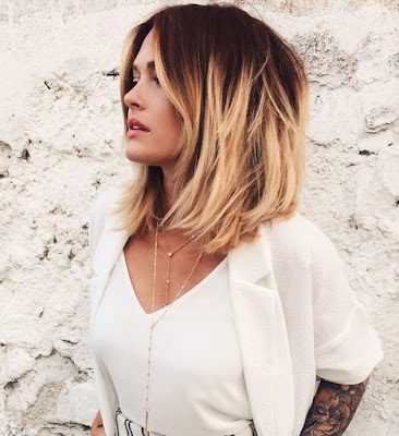 bronde brown to blonde hair color lob idea