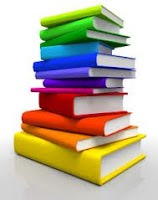 Illustration of a stack of books of many different colors