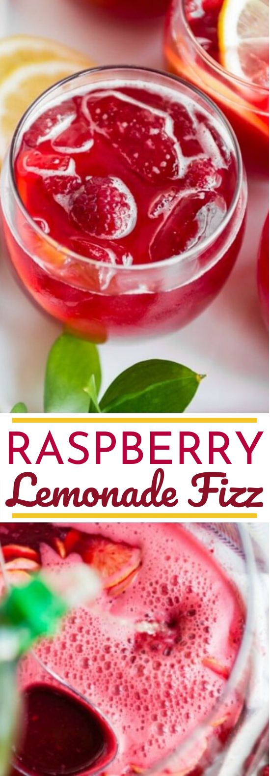 Raspberry Lemonade Fizz #drinks #recipe #nonalcohol #lemonade #summer